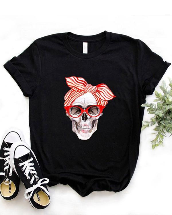 Women's Skull Print Women's Cotton T-Shirt