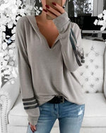 Casual Hooded Striped Long Sleeve Sweatshirt
