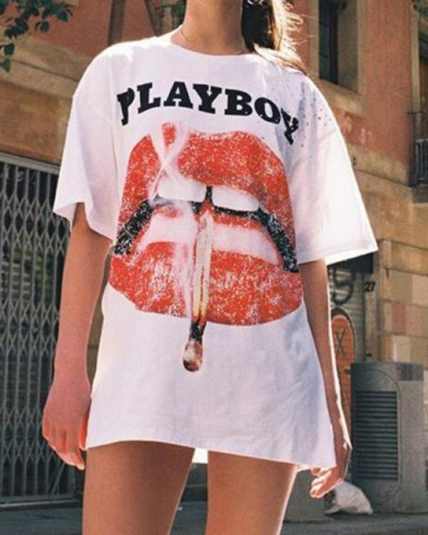 Street Style Lip Printed Holiday Casual Long T-Shirt