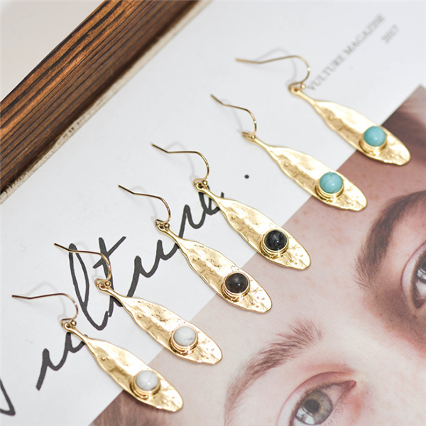 New Style Alloy Inlaid Natural Stone Earrings