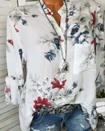 Autumn Fashinable White Basic Plus Size Floral Blouses & Shirt Tops
