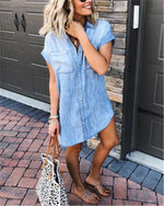 Women's Loose Denim Blouse Mini Dress Button Down Lapel Short Sleeve T-Shirt Tops with Pockets