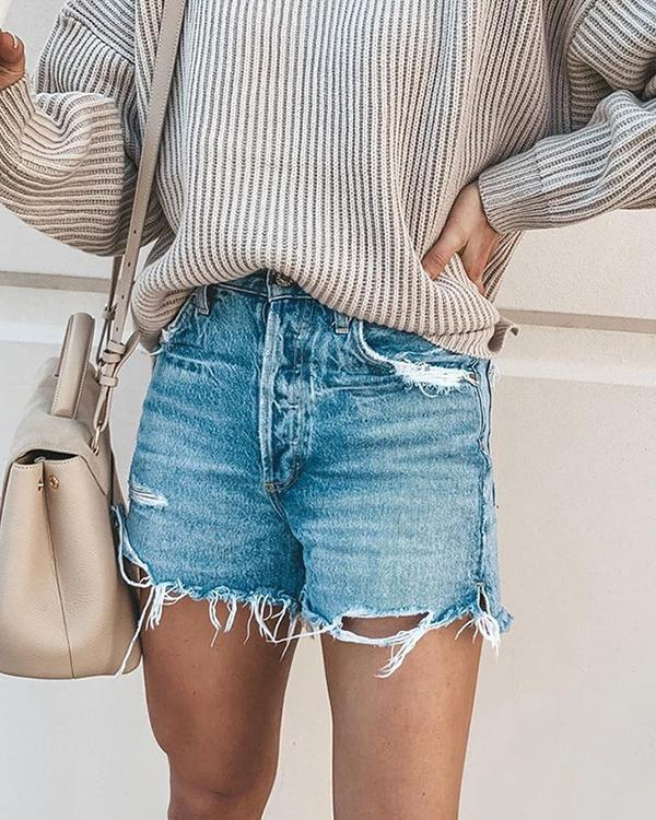 Light Blue Denim Holiday Solid Color Shorts Pants