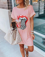 Lip Print Summer Casual Mini Dress