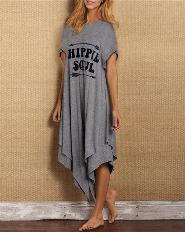 Cotton-Blend Letter Printed Short Sleeve Irregular Dresses