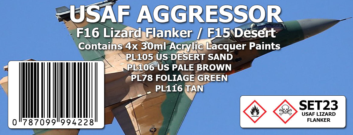 USAF AGGRESSOR : F16 LIZARD FLANKER  / F15 DESERT Colour Set