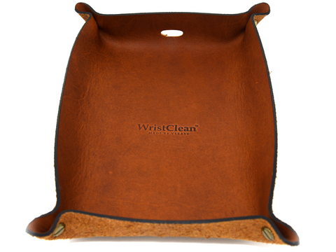 Genuine Leather Valet Tray - Tobacco Brown