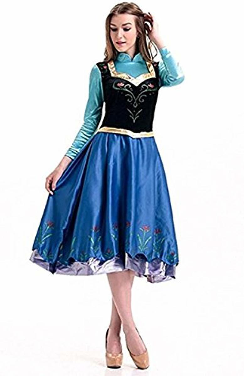 Anna Princess Dress with Cape Halloween Cosplay