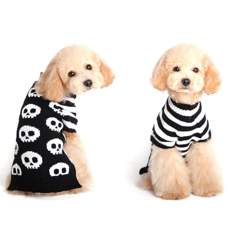 Skull Sweater Clothes Puppy Cat Winter Costume