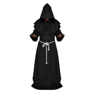 Mens Halloween Gothic Wizard Fancy Priest Robe