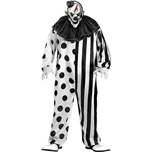 Black White Killer Clown Complete Costume with Latex Mask