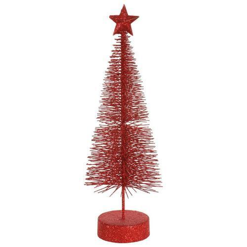Pack of 2 Red Hot Glitter Sisal Artificial Table Top Christmas Trees 12