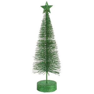 Pack of 2 Xmas Green Glitter Sisal Artificial Table Top Christmas Trees 12""