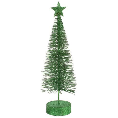 Pack of 2 Xmas Green Glitter Sisal Artificial Table Top Christmas Trees 12