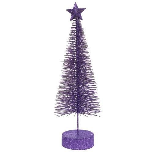 Pack of 2 Purple Passion Glitter Sisal Artificial Table Top Christmas Trees 12