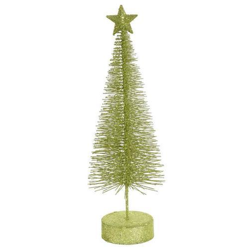 Pack of 2 Green Kiwi Glitter Sisal Artificial Table Top Christmas Trees 12
