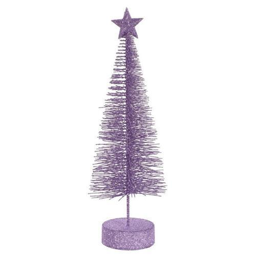 Pack of 2 Lavender Purple Glitter Sisal Artificial Table Top Christmas Trees 12