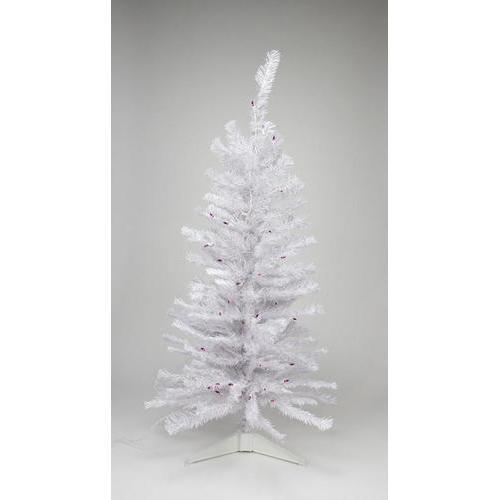 3' Pre-lit White Iridescent Pine Artificial Christmas Tree - Pink/Purple Lights