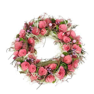 "12.5"" Pink Flowers and Berries  Green Leaves and Twig Artificial Spring Floral Wreath"