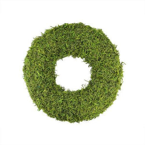 "13"" Green Reindeer Moss Artificial Floral Spring Wreath"