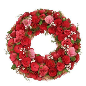 "12.5"" Red and Pink Flowers with White Berries Artificial Floral Wreath"