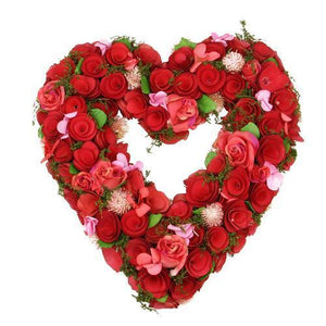 "14"" Red and Pink Valentine's Day Heart-Shaped Artificial Spring Floral Wreath"