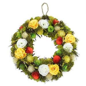 "12.5"" Peach  Orange  Green Flowers with Moss and Twig Artificial Spring Wreath"
