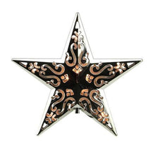 "Load image into Gallery viewer, 8"" Lighted Silver Cut-Out Design Decorative Star Christmas Tree Topper - Clear Lights"