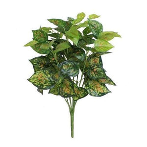 "19.5"" Decorative Artificial Green and Yellow Dieffenbachia Floral Bush"