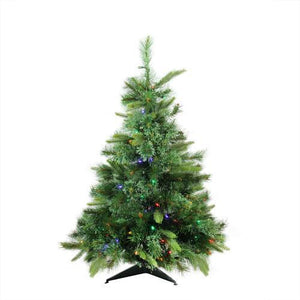 "3' x 29"" Pre-Lit Cashmere Mixed Pine Full Artificial Christmas Tree - Multi LED Lights"