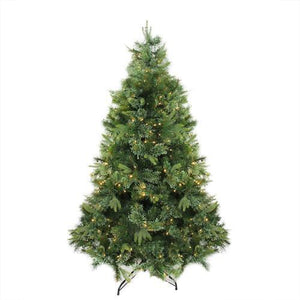 "7.5' x 55"" Pre-Lit Cashmere Mixed Pine Artificial Christmas Tree - Warm White LED Lights"