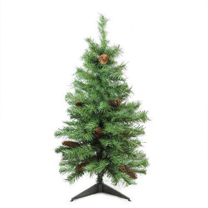 "3' x 22"" Dakota Red Pine Full Artificial Christmas Tree with Pine Cones - Unlit"