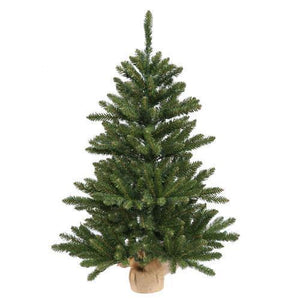 "3' x 20"" Anoka Pine Artificial Christmas Tree in Burlap Base - Unlit"