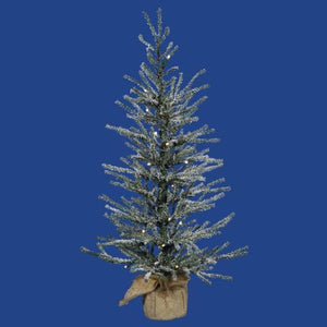 "2' x 14"" Pre-Lit Frosted Angel Pine Artificial Christmas Tree in Burlap Base - Clear Dura Lights"