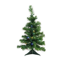 "Load image into Gallery viewer, 2' x 14"" Pre-Lit Mixed Classic Pine Medium Artificial Christmas Tree - Multi LED Lights"