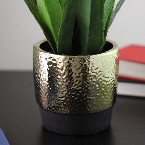 "17"" Artificial Succulent Agave in Decorative Gold Plated Round Ceramic Pot"