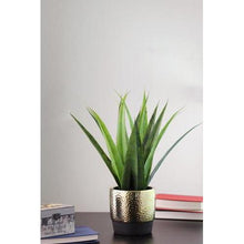 "Load image into Gallery viewer, 17"" Artificial Succulent Agave in Decorative Gold Plated Round Ceramic Pot"