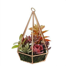 "Load image into Gallery viewer, 9"" Artificial Succulents Arrangement in 6-Sided Copper Metal Wire Frame"