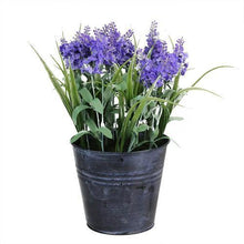 "Load image into Gallery viewer, 12"" Artificial Lavender Arrangement in Decorative Distressed Blue Pot"