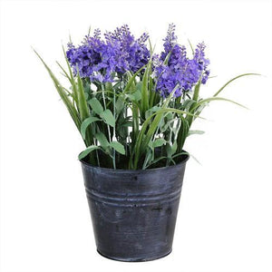 "12"" Artificial Lavender Arrangement in Decorative Distressed Blue Pot"