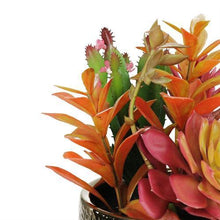 "Load image into Gallery viewer, 8.5"" Artificial Succulent Arrangement in Gold Ceramic Pot"