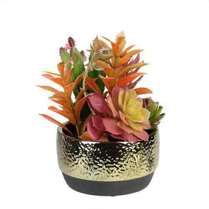 "8.5"" Artificial Succulent Arrangement in Gold Ceramic Pot"