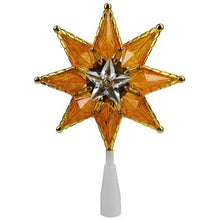 "Load image into Gallery viewer, 8"" Gold Mosaic 8-Point Star Christmas Tree Topper - Clear Lights"