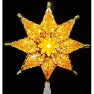 "8"" Gold Mosaic 8-Point Star Christmas Tree Topper - Clear Lights"