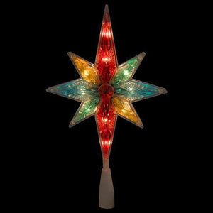 "10.75"" Multi-Color Faceted Star of Bethlehem Christmas Tree Topper - Clear Lights"