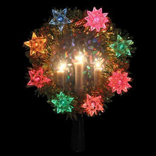 "Load image into Gallery viewer, 7"" Gold Tinsel Wreath with Candles Christmas Tree Topper - Multi Lights"