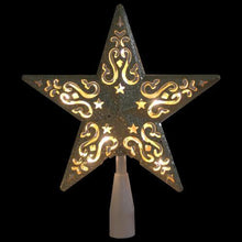 "Load image into Gallery viewer, 8.5"" Gold Glitter Star Cut-Out Design Christmas Tree Topper - Clear Lights"