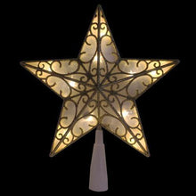 "Load image into Gallery viewer, 9"" Gold Glitter Star LED Christmas Tree Topper - Warm White Lights"