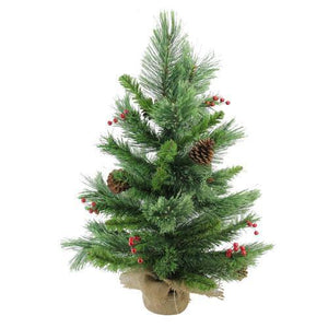 "24"" Mixed Cashmere  Berry Pine Artificial Christmas Tree - Unlit"