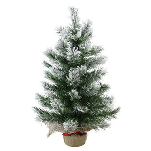 "22"" Flocked Pine Artificial Christmas Tree in Burlap Base - Unlit"